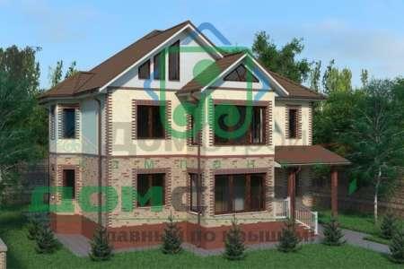 Двухэтажный дом с массивными эркерами на боковых фасадах