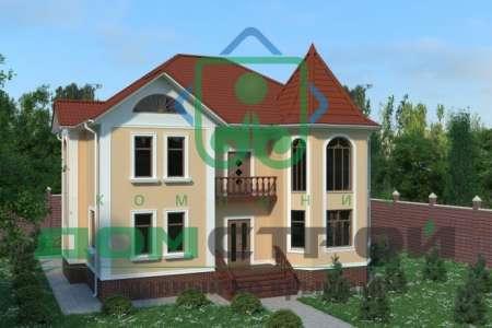 Элегантный двухэтажный дом с фасадом, оформленным искусственным камнем