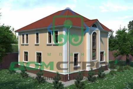 Двухэтажный коттедж с эркером в пастельных тонах