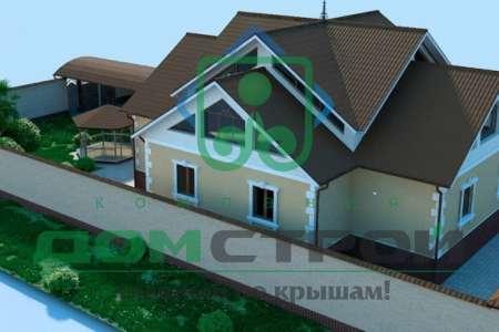 Компактный дом с мансардой загородного типа выполнен по каркасной технологии
