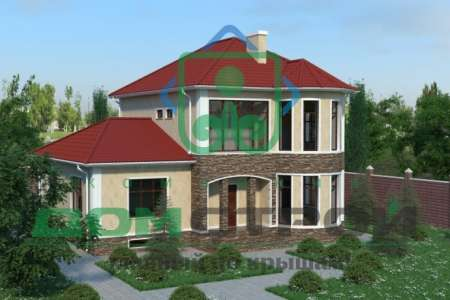 Просторный двухэтажный дом с эффектной арочной колоннадой над угловым крыльцом